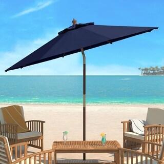 Safavieh Cannes 9 Ft Navy Wooden Outdoor Umbrella