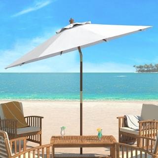Elegant Safavieh Cannes 9 Ft White Wooden Outdoor Umbrella