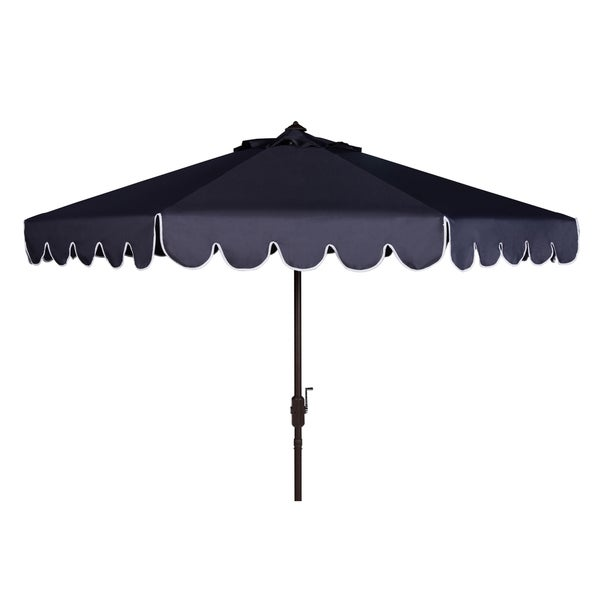 Safavieh Venice Single Scallop 9 Ft Crank Navy/ White Outdoor Umbrella