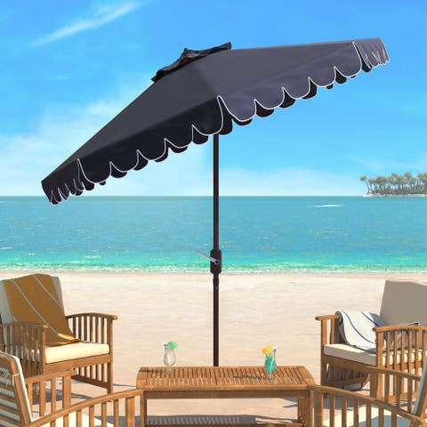 Safavieh Venice Single Scallop 9 Ft Crank Navy/ White Outdoor Umbrella, Base Not Included