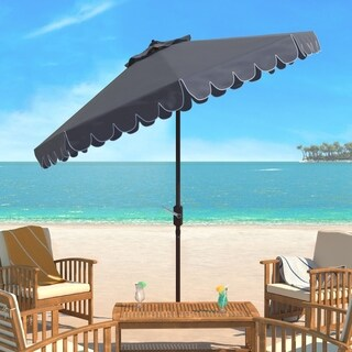 Safavieh Venice Single Scallop 9 Ft Crank Grey/ White Outdoor Umbrella