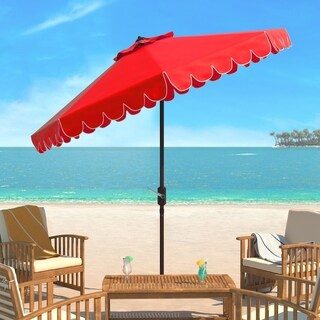 Safavieh Venice Single Scallop 9 Ft Crank Red/ White Outdoor Umbrella