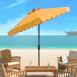 Safavieh Venice Single Scallop 9 Ft Crank Yellow/ White Outdoor Umbrella