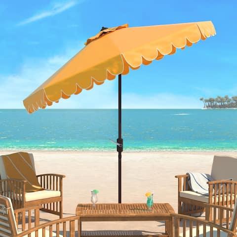Safavieh Venice Single Scallop 9 Ft Crank Yellow/ White Outdoor Umbrella