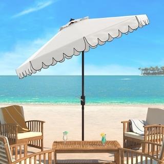 Safavieh Venice Single Scallop 9 Ft Crank White/ Black Outdoor Umbrella