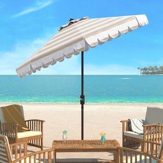 Safavieh Maui Single Scallop Striped 9 Ft Beige/ White Crank Umbrella