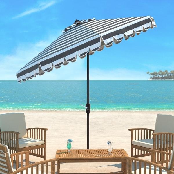 Safavieh Maui Single Scallop Striped 9 Ft Grey/ White Crank Umbrella