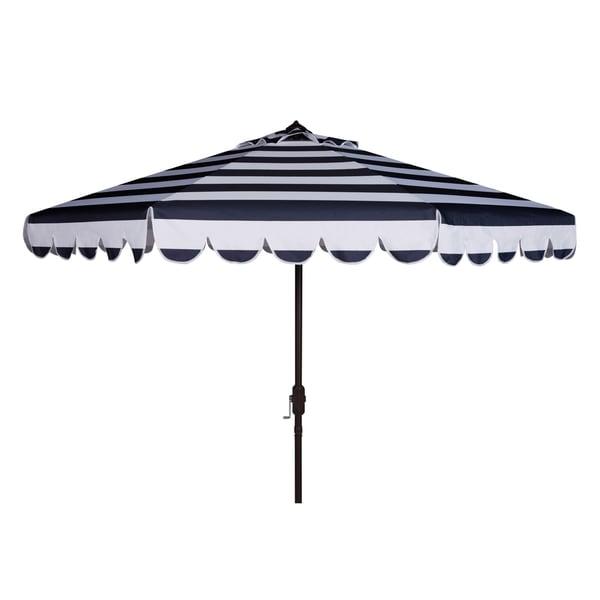 Safavieh Maui Single Scallop Striped 9 Ft Navy/ White Crank Umbrella