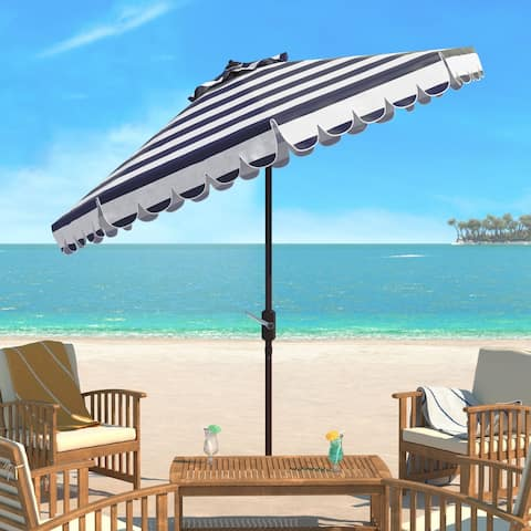 Safavieh Maui Single Scallop Striped 9 Ft Navy/ White Crank Umbrella