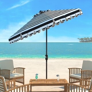 Safavieh Maui Single Scallop Striped 9 Ft Black/ White Crank Umbrella
