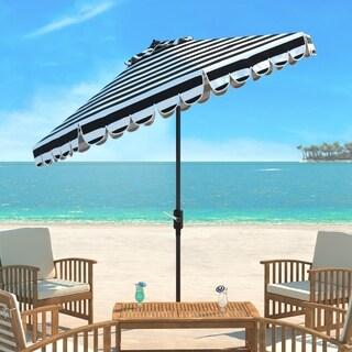 Safavieh Maui Single Scallop Striped 9 Ft Black/ White Crank Umbrella