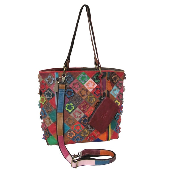 Amerileather Maxille Rainbow Leather Tote Bag
