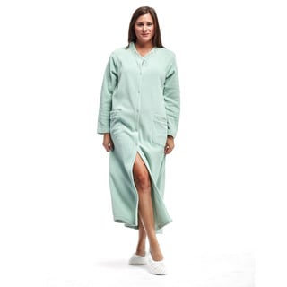La Cera Women's Fleece Embroidered Snap Robe