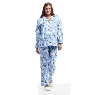 La Cera Women's Flannel Long Sleeve Polar Bear Pajama Set