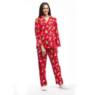 La Cera Women's Flannel Long-sleeve Christmas Pajama Set
