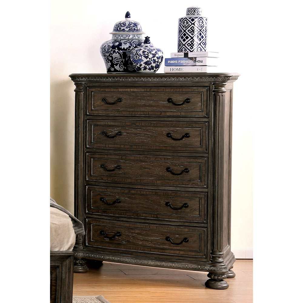 Furniture Of America Brey Traditional Brown Solid Wood 5 Drawer Chest On Sale Overstock 14586965