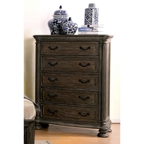 Furniture of America Brey Traditional Brown Solid Wood 5-drawer Chest