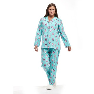 La Cera Women's Owl-print Cotton Flannel Long-sleeve Pajama Set