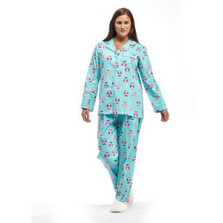 La Cera Women's Owl-print Cotton Flannel Long-sleeve Pajama Set