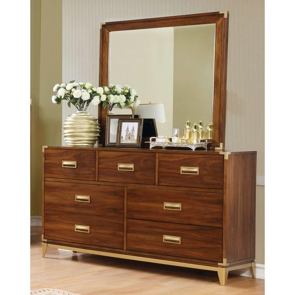 Shop Furniture Of America Tamelia Transitional 2 Piece Dark Oak Gold Accented Dresser And Mirror
