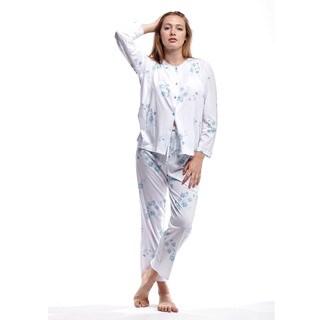 La Cera Women's Ribbon Lace Neck Cotton Pajama Set