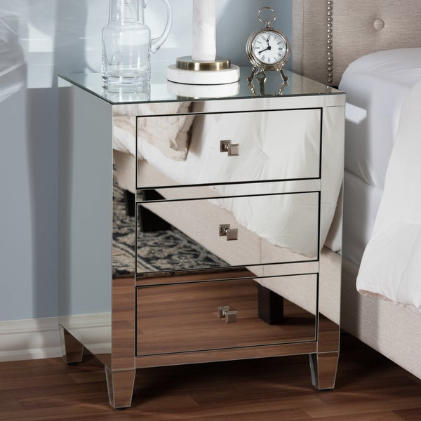 Beau Glam Silver Mirrored Nightstand 2 Piece Set By Baxton Studio