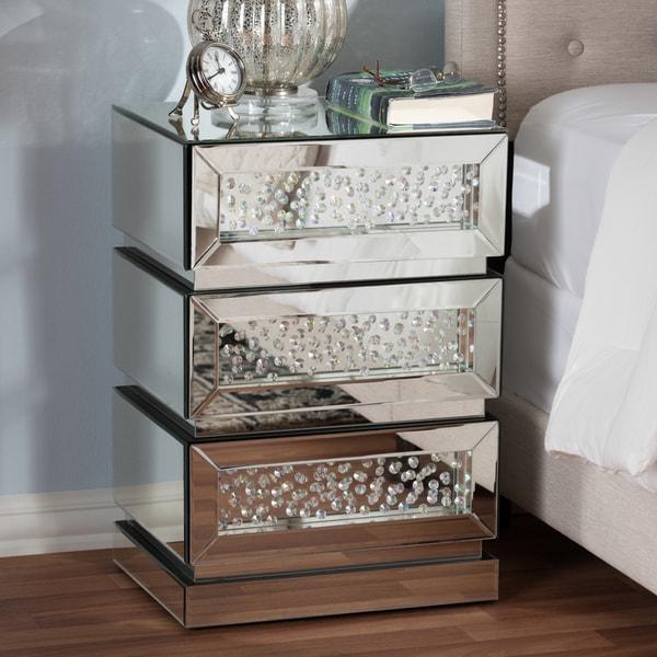 Shop Glam Silver Mirrored Nightstand By Baxton Studio