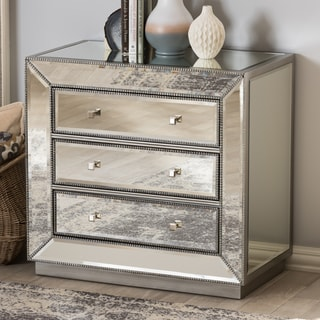 Glam Silver Mirrored Chest by Baxton Studio