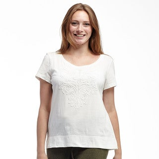 La Cera Women's Cotton Short-sleeve Aplique T-shirt