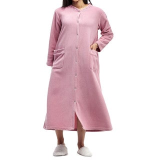 La Cera Women's Plus-size Embroidered Snap Fleece Robe