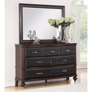 Abbyson Delano Luxury Leather Dresser and Mirror Set