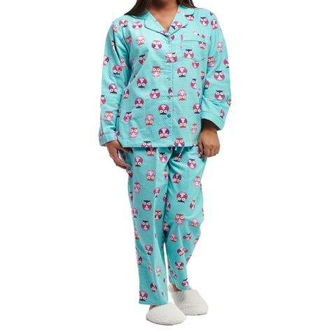La Cera Plus Size Owl Print Long-sleeve Flannel Pajama Set