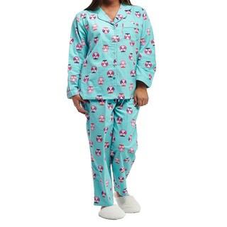 La Cera Plus Size Owl Print Long-sleeve Flannel Pajama Set