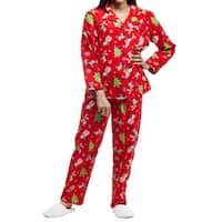 La Cera Plus Size Christmas Cotton Flannel Long Sleeve Fun Pajama Set