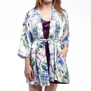 La Cera Women's Plus Size Satin Lilac Purple Print Wrap Robe