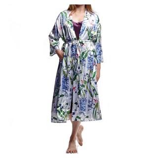La Cera Women's Plus Size Lilac Polyester Satin-like Printed Kimono Robe