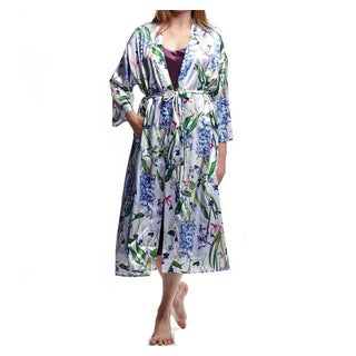 La Cera Women's Plus Size Lilac Polyester Satin-like Printed Kimono Robe