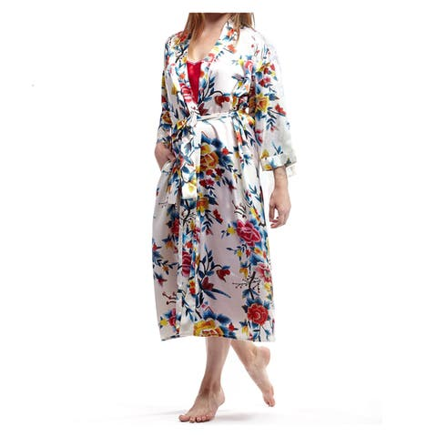 La Cera Women's Plus-Size Red Polyester Satin-Like Printed Kimono Robe