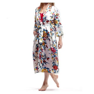 La Cera Women's Plus-Size Red Polyester Satin-Like Printed Kimono Robe (2 options available)