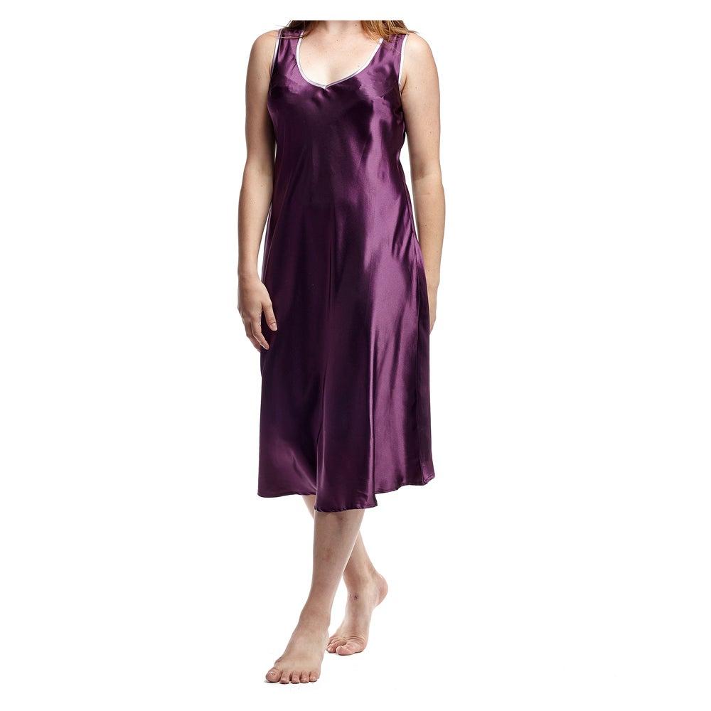 La Cera Womens Plus Size Sleeveless V-neck Nightgown