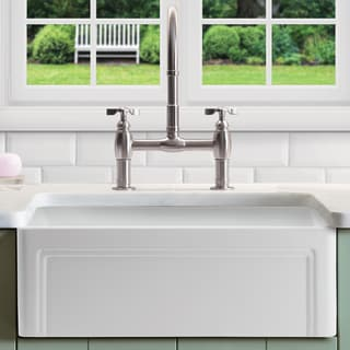 """Olde London Fireclay 33"""" L x 18"""" W Single Bowl Farmhouse Kitchen Sink with Grid & Strainer In White"""