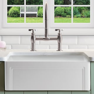 "Olde London Fireclay 33"" L x 18"" W Single Bowl Farmhouse Kitchen Sink with Grid & Strainer In White"