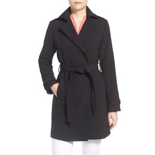 T Tahari Monica Black Trench Coat