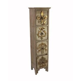 Jeco Fleur-de-Lis Design Wood-Effect Cabinet