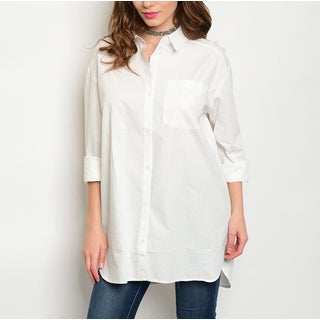 JED Women's Cotton Relaxed-fit Poplin Button-down Shirt
