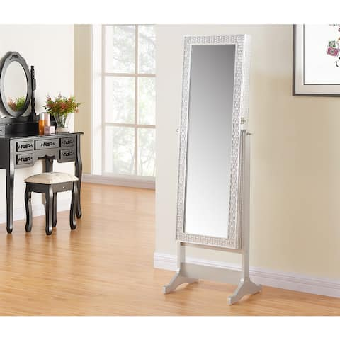 Silver 58-inch Jewelry Mirror Cabinet