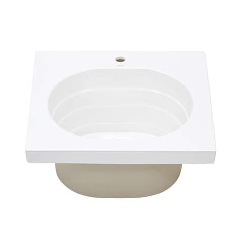 Ronbow Ashland Above Counter White Ceramic Utility Bathroom Sink Top