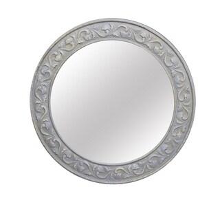 Jeco Grey MDF 30.75-inch Round Wall Mirror
