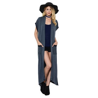 JED Women's Knit Short-sleeve Maxi Cardigan Vest with Pockets