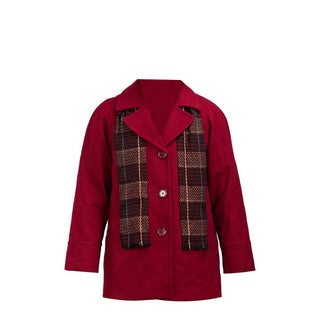 Forecaster Women's Red Wool Single-breasted Plus Size Jacket with Scarf